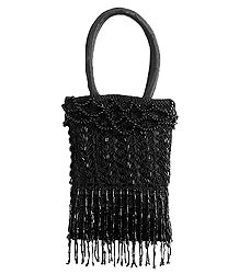 Black Beaded Party Purse