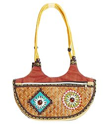 Cane Bag with Two Zipped Pocket with Bead Work