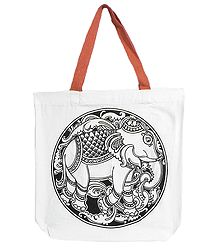 Elephant Print on White Shopping Bag