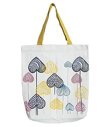 Astract Jungle Print on White Shopping Bag