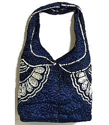 Dark Blue Satin Bag with Bead and Sequin Work