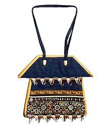 Kantha Stitch Bag with Three Zipped Pockets