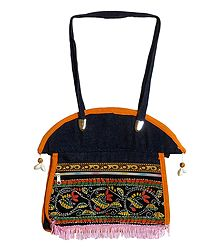 Kantha Stitch Denim Bag with Three Zipped Pockets