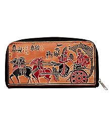 Embossed Leather Clutch Purse with 4 Pockets and 1 Zipped Pocket