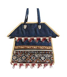 Kantha Stitch Bag with Three Zipped Pockets