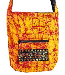 Kantha Embroidered Yellow with Red Batik Cotton Bag with Three Zipped Pocket