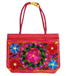 Kashmiri Embroidery on Red Cotton Bag with Two Zipped Pocket