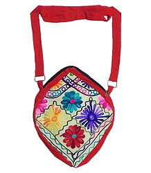 Kashmiri Embroidery on Cotton Shoulder Bag with Two Zipped Pocket