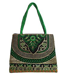 Embroidered Green Silk Bag