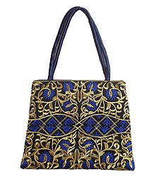 Embroidered Blue Silk Bag