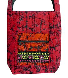 Kantha Embroidered Red with Black Batik Cotton Bag with Three Zipped Pocket