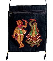 Dandiya Raas Embroidery Black Bag with One Zipped and One Open Pocket