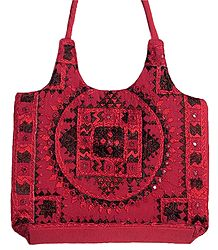 Embroidered Red Cotton Bag