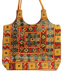 Mirrorwork and Embroidered Yellow Cotton Bag