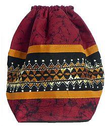 Kantha Embroidered Maroon Batik Potli Cotton Bag
