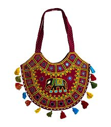 Embroidered and Mirrorwork on Cotton Shoulder Bag with One Zipped Pocket