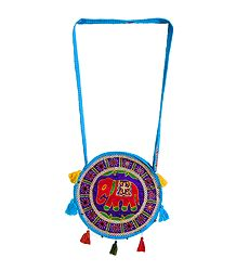 Embroidered and Mirrorwork on Cotton Shoulder Bag with Two Zipped Pocket