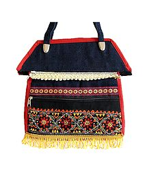 Kantha Stitch Denim Bag
