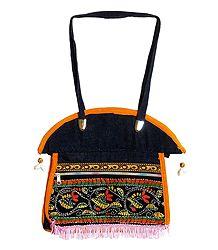 Kantha Stitch Denim Bag with Three Zipped Pockets