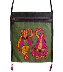 Dandiya Raas Embroidery Green Bag with One Zipped and One Open Pocket