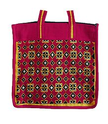 Embroidered Red Jute Bag