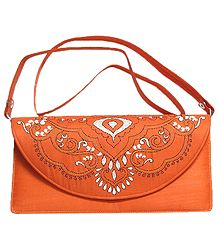 Saffron Silk Bag with Kantha Stitch