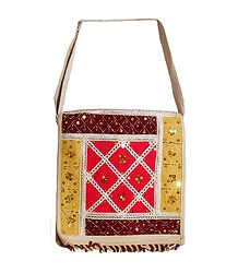 Sequined, Beaded Jute Bag with Two Zipped and One Open Pocket