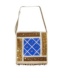 Sequined, Beaded Jute Bag with One Zipped and One Open  Pocket