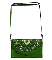 Green Bag with Kantha Stitch