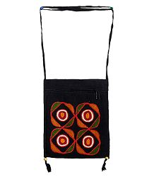 Rangoli Design Embroidery Black Bag with One Zipped and One Open Pocket