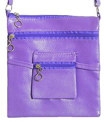 Rexine Mauve Color Sling Bag with Four Zipped Pocket