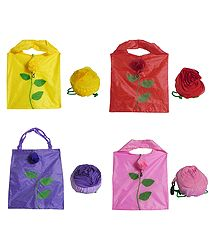 4 Foldable Synthetic Bags with Rose Cover