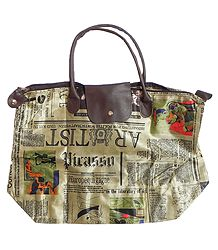 Foldable Beige with Black Newspaper Printed Rexine Bag