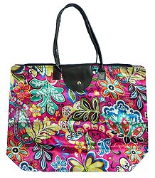 Foldable Multicolor Floral Printed Rexine Bag