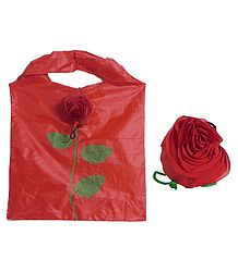 Foldable Red Shopping Bag with Rose Cover