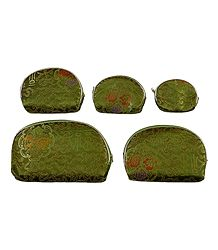 Set of 5 Olive Green Brocade Clutch Purse