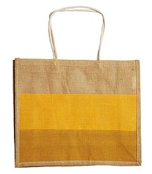 Jute Shopping Bag with One Open Pocket and One Small Pocket