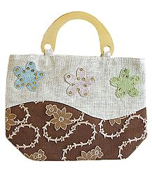 Appliqued Jute Shopping Bag with One Zipped Pocket and One Open Small Pocket and Wooden Handle