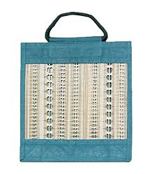 Jute Shopping Bag with Hole Threadwork on Bamboo