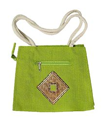 Green Appliqued Jute Bag with Two Open Pockets and Two Zipped Pockets