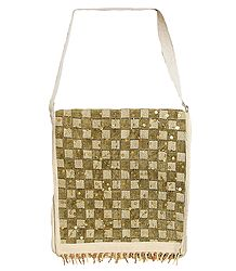 Sequined and Beaded Jute Bag with One Zipped and One Open  Pocket