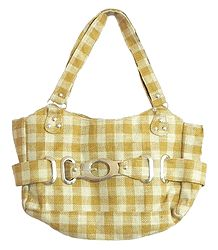 Yellow and Off-White Check Jute Bag with Two Large and Two Small Zipped Pockets