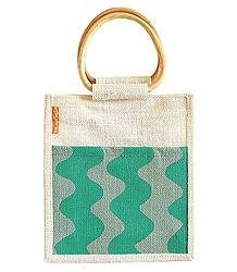 Hand Painted Jute Shopping Bag with Two Open Pocket and Wooden Handle