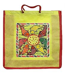 Kalighat Pata on Yellow Shopping Bag