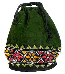 Kantha Embroidered Dark Green Batik Potli Cotton Bag