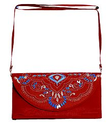 Red Bag with Kantha Stitch