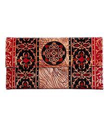 Batik Leather Clutch Purse
