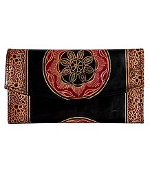 Batik Leather Clutch Purse with Three Open Pocket and Two Zipped Pockets