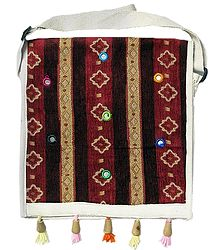 Maroon Jute Bag with Mirrorwork