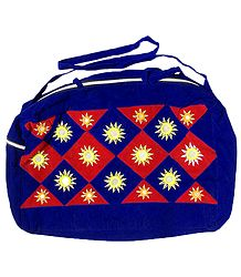 Blue and Red Mirror Work Velvet Bag